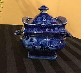 American Historical Dark Blue Staffordshire Sugar Bowl, c, 1820