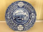 American Historical Staffordshire Blue & White Plate, c. 1830, Fathers