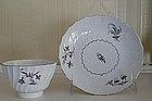 English Worcester Porcelain Tea Bowl & Saucer, c. 1790