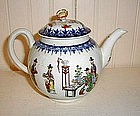 English Worcester Tea Pot, c. 1770, Chinese Family