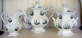 Staffordshire Mellor & Venables Tea Set, c. 1835