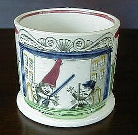 "Staffordshire Child's Mug, ""Punch and Judy,"" c. 1820"