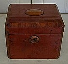 English Red Wash Tobacco Box, c. 1820, Mahogany trim
