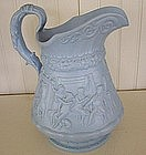 English Blue Stoneware Relief Molded Jug, dated 1840