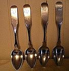 4 Philadelphia Silver Teaspoons, c. 1830, McMullin