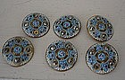 Set of 6 French Enamel & Marcasite Buttons, c. 1920