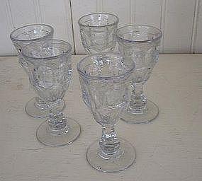 Set of 5 American Pressed Glass Liquors, c. 1840