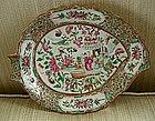 Chinese Export Porcelain Famille Rose Leaf Dish c. 1840