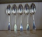 5 Morrisville, NY Silver Serving Spoons 1817, Baldwin
