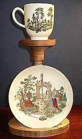 English Worcester Porcelain Cup & Saucer, c. 1768