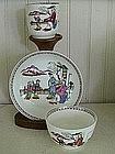 English New Hall Porcelain Trio, c. 1790