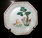 Chinese Export Famille Verte Rose Sauce Dish, c. 1770