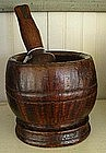 Pennsylvania Burl Walnut Mortar & Pestle, c. 1780-1810