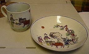 English Worcester Porcelain Cup And Saucer, c. 1765- 68