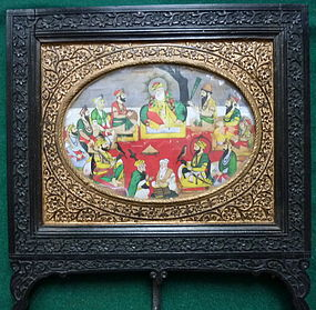SOLD INDIAN CARVED AND GILDED FRAME SIKH IMAGE