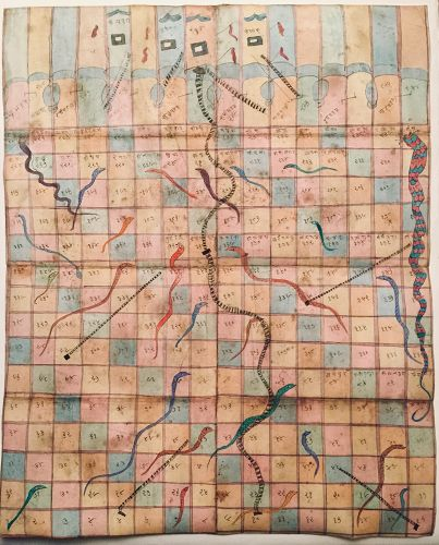 INDIAN 19th cent SNAKES AND LADDERS PAINTING