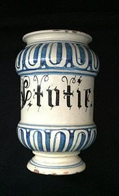 18th Century Italian drug jar. Albarello
