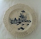 Leeds creamware reticulated plate c.1780