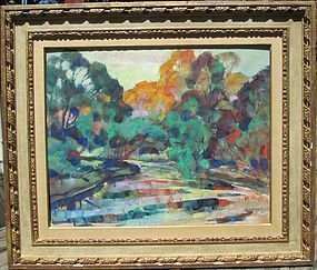 Costigan, John E., Watercolor of a brook in autumn