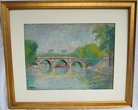 Orr, Louis. American 1879-1961 pastel Seine in Paris