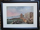 Oil of Naples harbor and breakwater probably mid-19th century