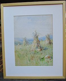 Watercolor of corn ricks and pumpkins American early 20th century