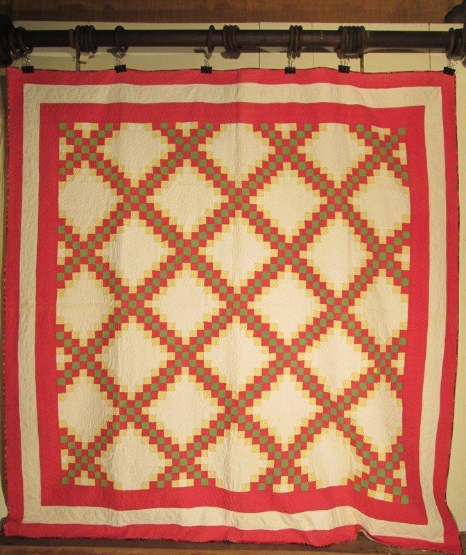 American pieced cotton quilt, triple Irish chain, late 19th century