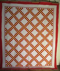 Double Irish chain pieced cotton quilt American late 19th c.