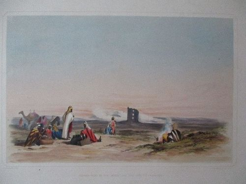 Lithograph Roman ruin in the desert published London 1852