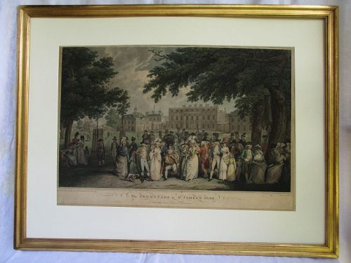Promenade St James Park, stipple engraving 1791 London