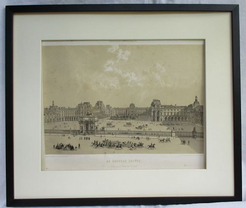 A detailed 19th century lithograph of the Louvre, Paris France