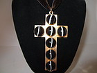 Antique Gilded Bronze and Banded Agate Cross