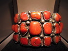Coral and Sterling Navajo Cuff Bracelet