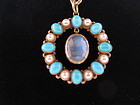 Turquoise, Pearl, Moonstone and 14k Gold Pendant