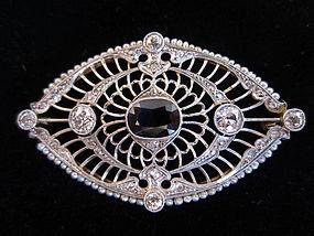 Edwardian Platinum, 14k, Diamond & Sapphire Brooch