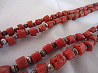 Navajo Coral and Silver Double Strand of Beads