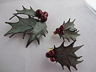 Festive Holly Earrings & Brooch