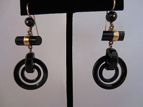 Victorian 14k Gold and Onyx Earrings