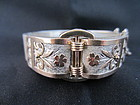 French Silver and Rose Gold Victorian Bangle