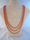 Victorian Three Strand Salmon Coral Necklace
