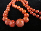 Graduated Strand of Natural Coral Beads