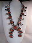 Navajo 1950s Coral and Sterling Squash Blossom Necklace