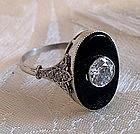 Art Deco Diamond, Onyx, 18K / Platinum Ring