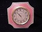 English Sterling Pink Guilloche Enamel Clock