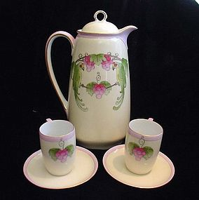 Art Deco Chocolate Pot Set with Parrots and Grapes