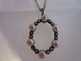 Platinum, Pearl and Diamond Necklace