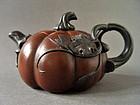 A lovely marked Yixing Pumpkin shape Teapot