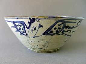 A large Korean Choson  Period blue and white bowl