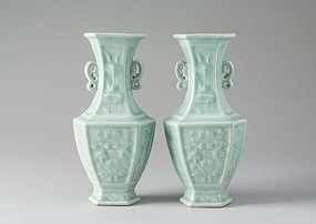 Pair of very good Qing moulded bluegreen Celadon vases