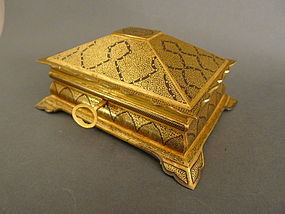 A museum qual. Koftgari iron with gold wire casket